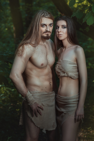 neanderthal women: Young couple went to live in the forest like wild people.
