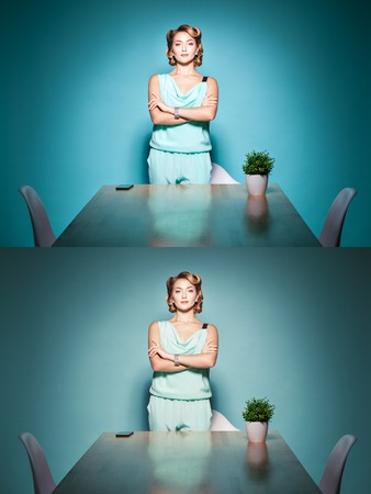 grouch: Woman boss happy face at the negotiating table.
