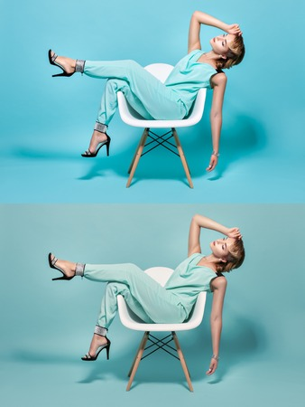 footsie: Stylish woman posing on a chair in pin-up style.