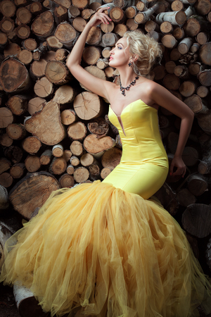 enticing: Woman in the lush yellow dress posing on a background of firewood.