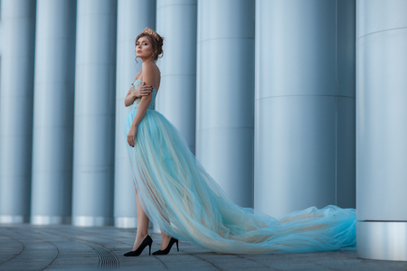 Queen with a crown and a long luxuriant dress walks among the columns. Stock Photo