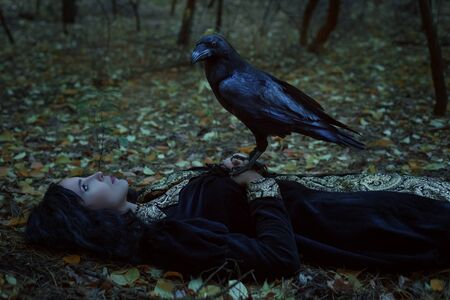 A mystical raven is sitting on a dead woman. Reklamní fotografie