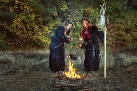 Two women shamans make a potion on a bonfire in the forest.