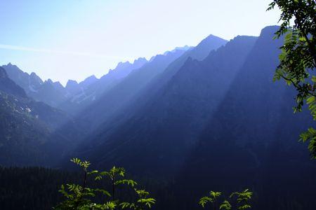 Morning with shadows and haze in High Tatras National Park, Slovakia Stock Photo - 1065707