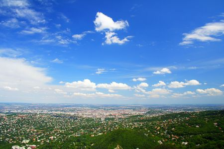 Budapest (Hungary) on a sunny day from above Stock Photo