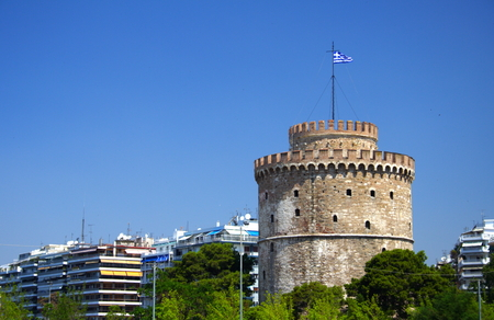 White Tower in Thessaloniki with blue sky Stock Photo