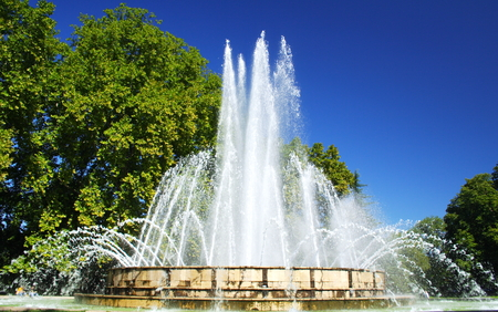 fountain in a park in Budapest, Hungary
