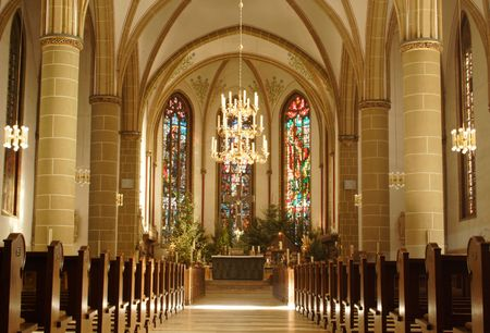 pew: church from inside in Munster, Germany Editorial