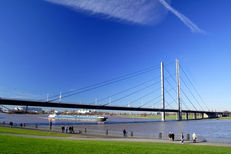 a bridge and a pram in Dusseldorf, Germany Stock Photo