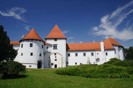 white castle with blue sky in Varazdin, Croatia Stock Photo