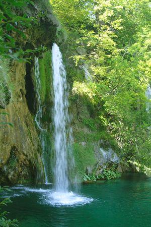 green waterfall in Plitvice, Croatia Stock Photo