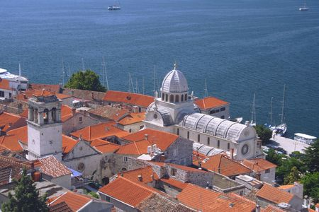 church with red roofs in Sibenik