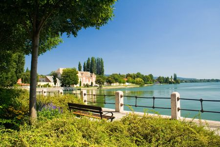 park with a lake in Tata, Hungary Stock Photo