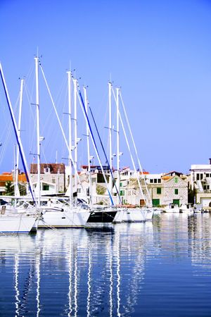 small harbor with boats in Croatia