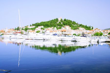 peninsula with yachts in Croatia photo