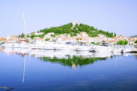 peninsula with yachts in Croatia