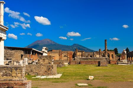 historical ruined building with the Vezuv, Pompei Stock Photo