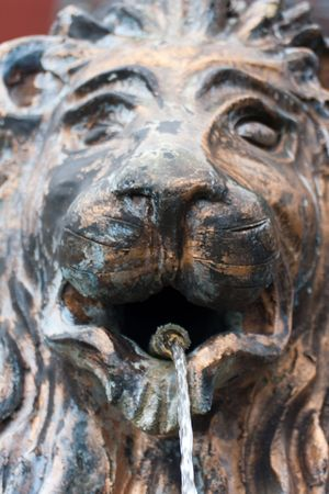 lion head fountain with flowing water Stock Photo - 7391572