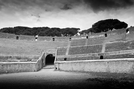 ancient arena in Pompeii, Italy, black and white photo