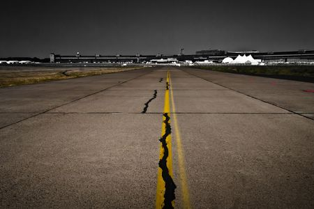 airport runway, desaturated background, Tempelhof airport, Berlin, Germany Stock Photo - 7391796