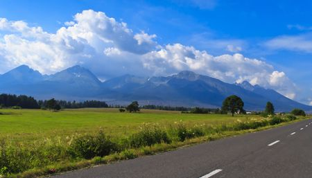 Road in Slovakia in front of the High Tatras