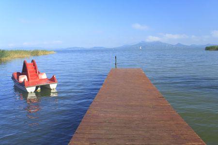 Lake Balaton with pier and paddle boat, Hungary Stock Photo - 7772599
