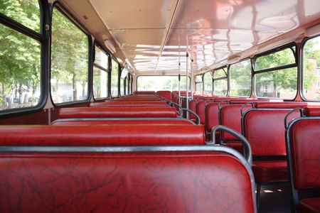 omnibus: Omnibus on Berliner roads with red seats Stock Photo