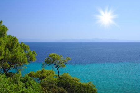Blue sea with green trees on the beach in Croatia