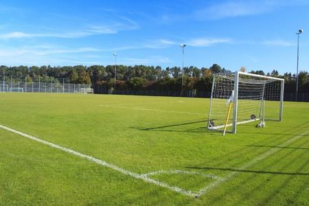 cancha de futbol: campo de f�tbol vac�o verde con bandera y redes