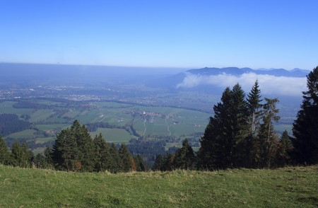 view from the mountain with clouds and blue sky Stock Photo