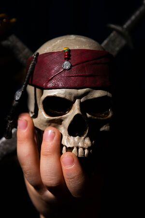 pirate skull background Stock Photo