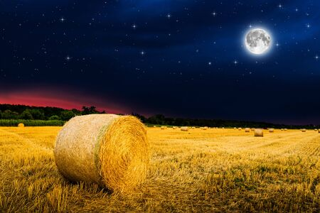 hay bales in the night. Elements of this image furnished by NASA.