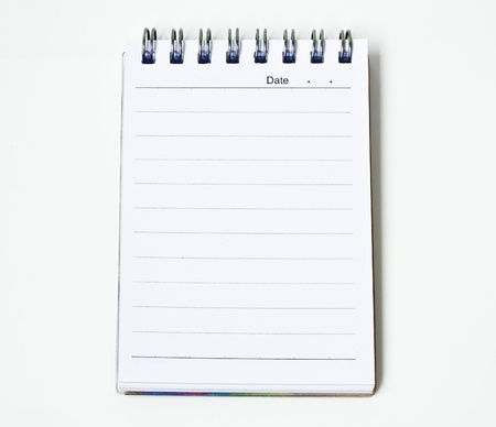 notebook on isolated white background