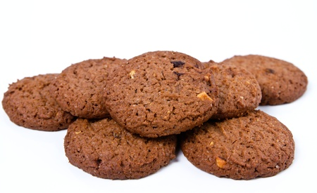 biscuit: homemade chocolate cookies on white background