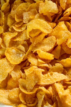 corn flakes for breakfast close up shot Stock Photo