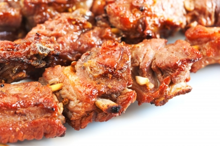 grilled pork with short ribs on plate close up Stock Photo