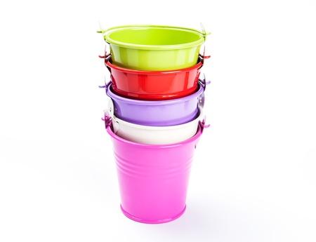 bucket stack on white background