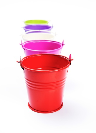 matallic: colorful bucket on white background