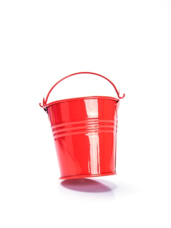 matallic: red bucket on white background
