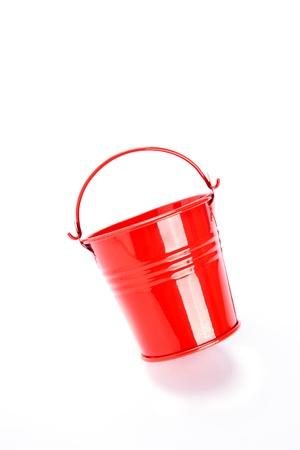 red bucket on white background