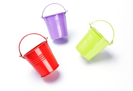 matallic: bucket on white background