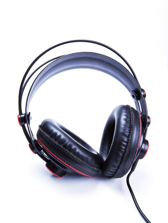 black old headphone on white background photo