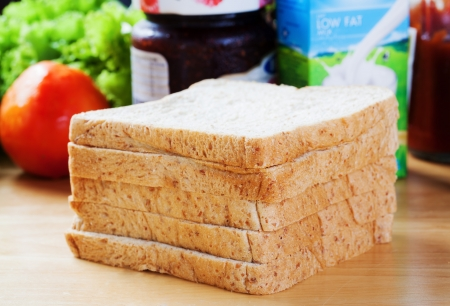 sliced whole wheat bread for breakfast photo
