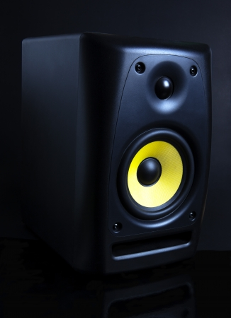 audio speaker on black background photo