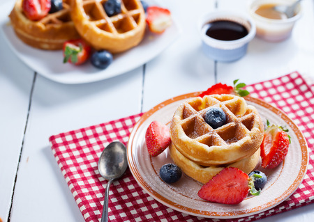 caramel sauce: waffles with strawberry,blueberry and caramel sauce
