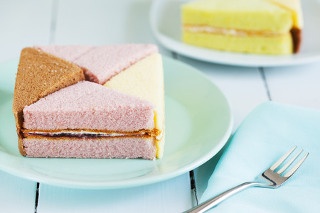 chiffon: pieces of chiffon cake on plate for snack