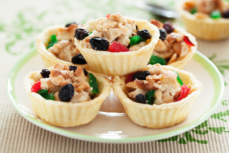 refreshment: cashew nut pie put on plate for refreshment