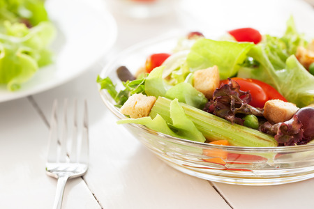 glass bowl: salad in glass bowl