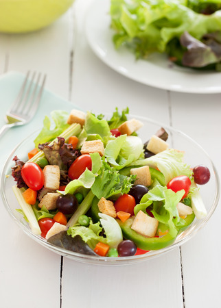 glass bowl: fresh vegetable salad in glass bowl for health