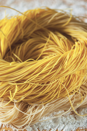 chinese noodles: homemade dried chinese noodles roll Stock Photo